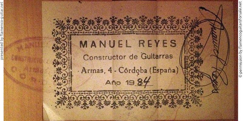 MANUEL REYES GUITAR 1984 - LABEL - ETIKETT - ETIQUETA