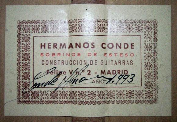 Hermanos Conde - Sobrinos de Esteso - 1993 - Guitar 3 - Photo 3