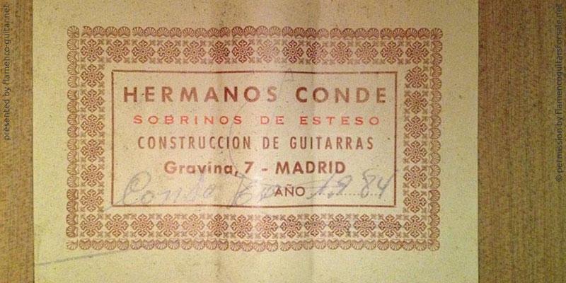 HERMANOS CONDE - SOBRINOS DE ESTESO 1984 - LABEL - ETIKETT - ETIQUETA