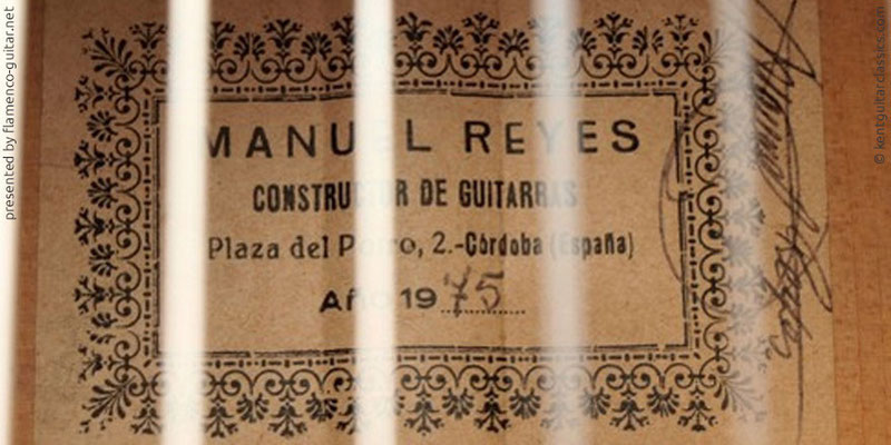 MANUEL REYES GUITAR 1975 - LABEL - ETIKETT - ETIQUETA