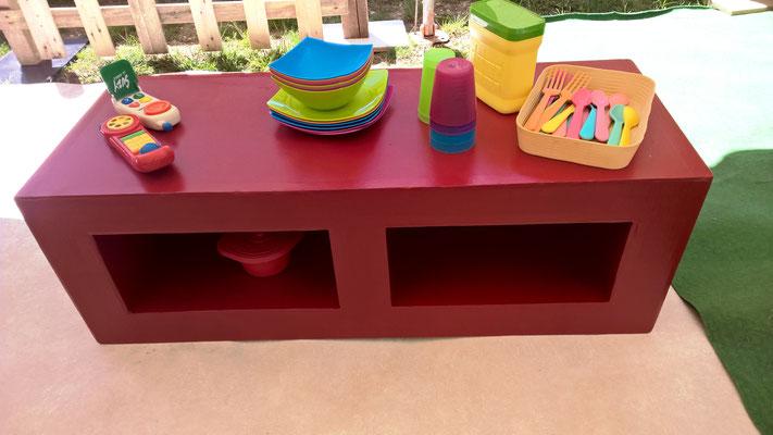 Un meuble, une desserte, un buffet, parfois une table, selon le jeu des enfants (et leur âge et taille)