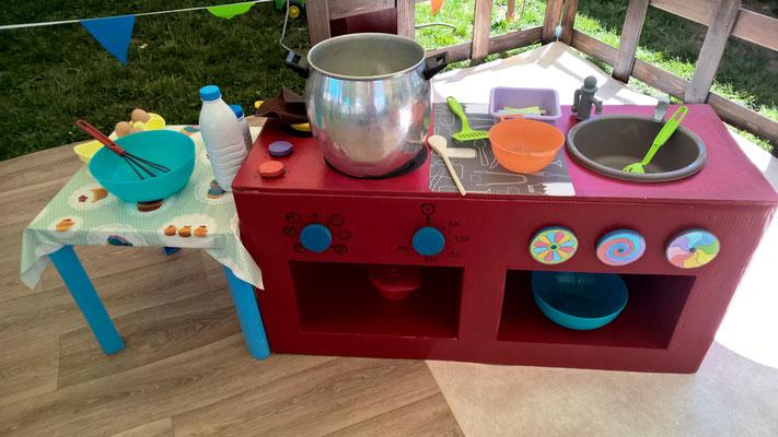 La cuisinière équipée : four, meuble, évier, plaques de cuisson ...