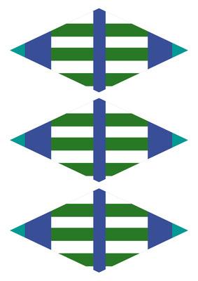 Girlande Streifen blau/türkis/grünweiss