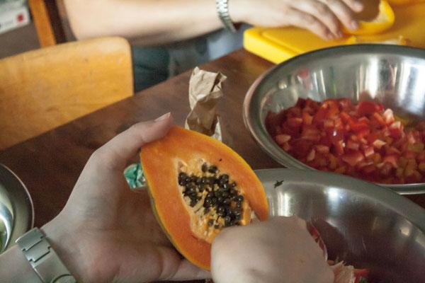 Einkornrissotto mit Papaya.
