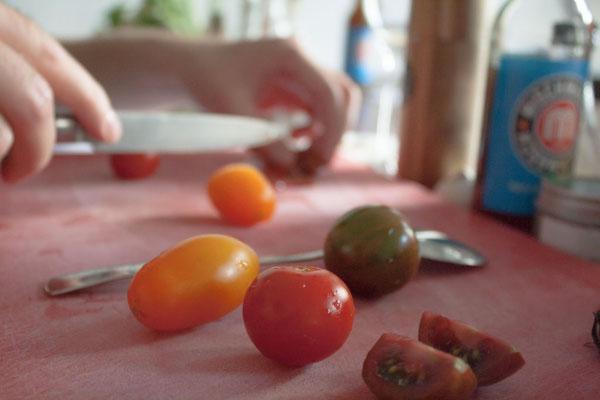 Tomaten für das Bruschetta.