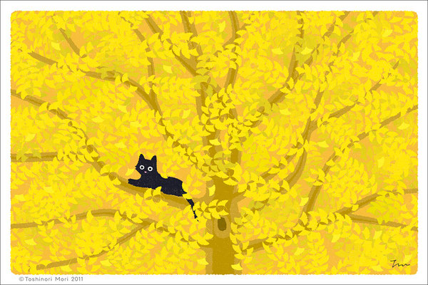 たびねこイラスト-11 木の葉がくれ