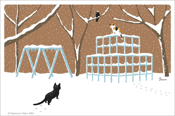 たびねこイラスト-2 雪のジャングルジム