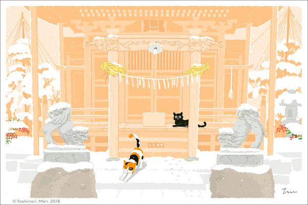 たびねこイラスト-25 南天神社