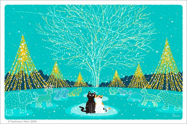 たびねこイラスト-24 クリスマス・イルミネーション