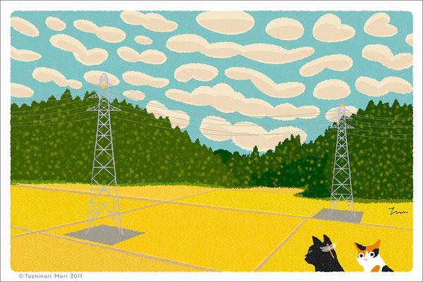 たびねこイラスト-9 うろこ雲