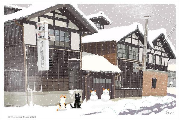 たびねこイラスト-41 雪の酒蔵