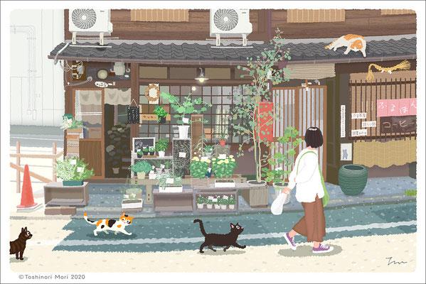 たびねこイラスト-43 京都の花屋