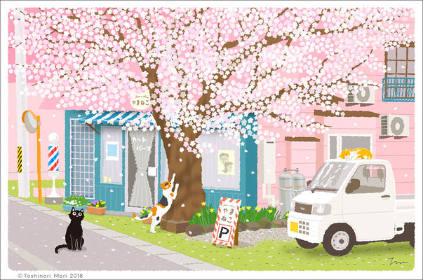 たびねこイラスト-28  桜通りの理髪店