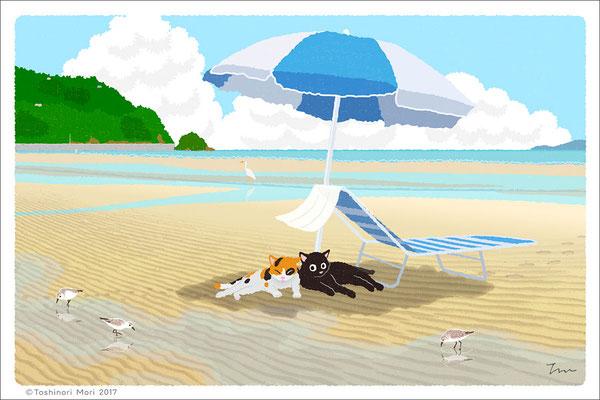 たびねこイラスト-31 夏のパラソル