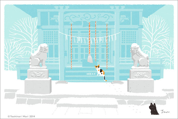 たびねこイラスト-13 雪の初詣