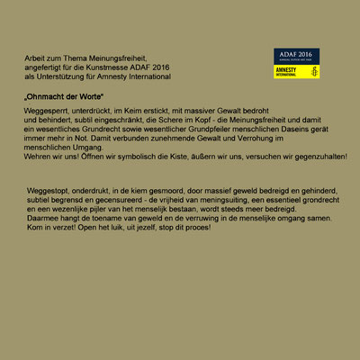 2016 ADAF, Arbeit für Amnesty international
