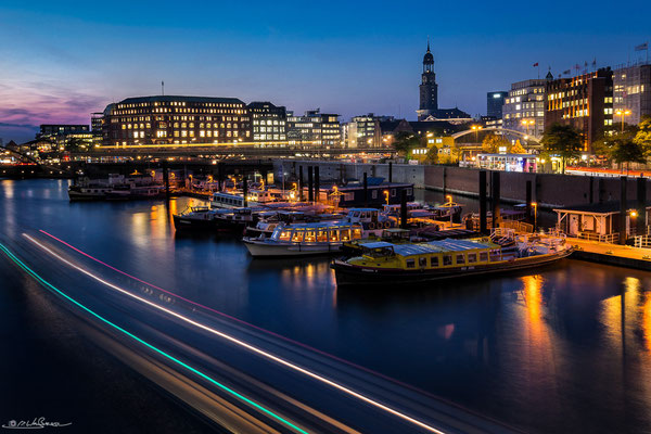 """Hamburg Blues"" - ""Binnenhafen"" and ""St. Michaelis Church"", Hamburg, Germany"