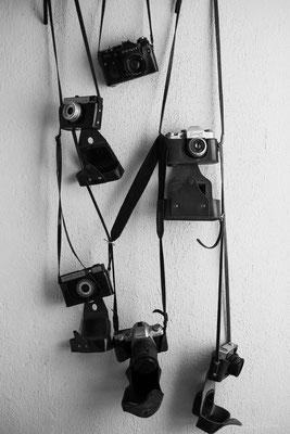 Old cameras in a café in Miramar, La Habana