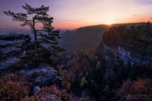 """Calm"" - View from the ""Kleiner Winterberg"" to the ""Gleitmannshorn"" in Saxon Switzerland, Germany"
