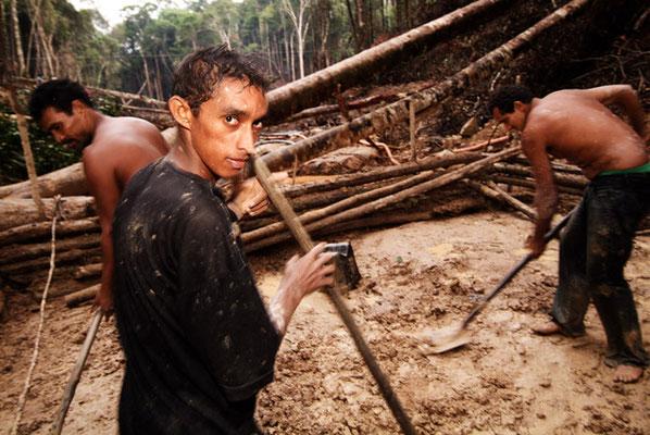Apuí, Bundesstaat  Pará, Wenn im Amazonasbecken Gold entdeckt wird, verwandelt sich der Regenwald schnell in eine Schlammlandschaft.