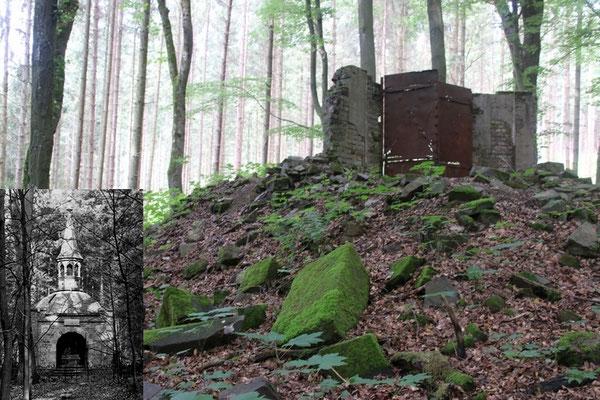 Reste des Mausoleums der Familie Rive, Schöneck. Kleines Bild: Das Mausoleum um 1960