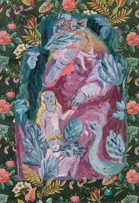 楽園/ Eden acryl on wrappingpaper/2014/34.4×23.8