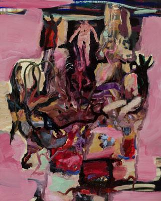 死後の世界、生まれ変わりの門 Oil Painting 100 x 80 cm 撮影/齋藤 裕也