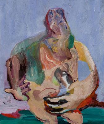 言葉は鳴き声、対話を試みる  Oil Painting  45.5 x 38 cm 撮影/齋藤 裕也