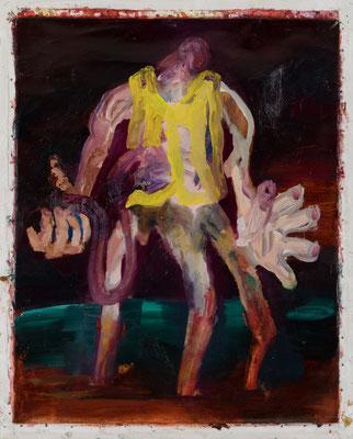 黄色いベスト/Yellow Vest Oil Painting 91 x 72.7 cm(99.5 x 80.5 cm キャンバスサイズ) 撮影/齋藤 裕也