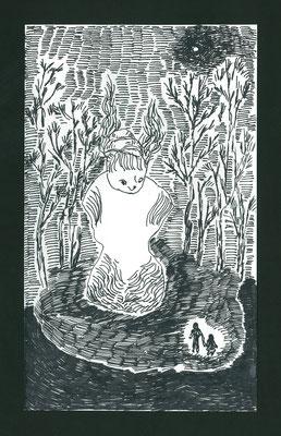 トルソーのある夜の公園 pen/2014 18×11 個人蔵