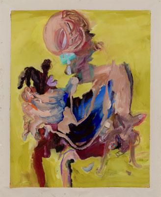 人間、光でいっぱいの虚ろ Oil Painting  115 x 91 cm(130 x 106.5 cm キャンバスサイズ) 撮影/齋藤 裕也