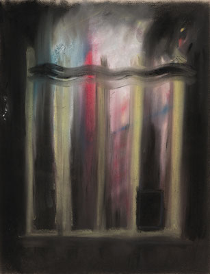 燃えている小さい家/Fiery Little House pastel on paper/2018 530.×41.0(P10) 撮影/齋藤 裕也 個人蔵
