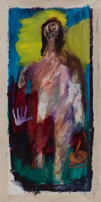 隣人 oil on canvas Oil on Canvas 160 x 73 cm (179 x 90 cm) 撮影/齋藤 裕也 個人蔵