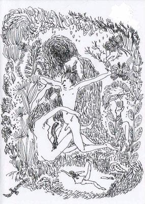 人形と同じ道をたどる pen/2014  14.5×10.2