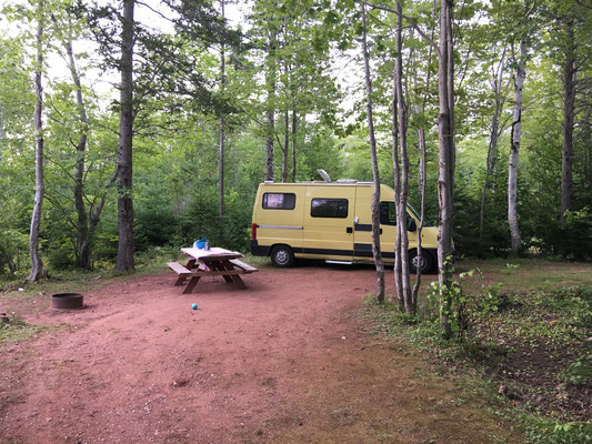 Diesmal nicht direkt im National Park, dafür gibt's im Cavendish Sunset Campground Schatten.