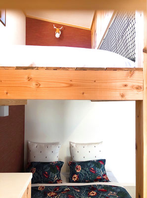 Upstairs : Japanese-style futon set for 1 person / Downstairs : Queen bed for 2 persons