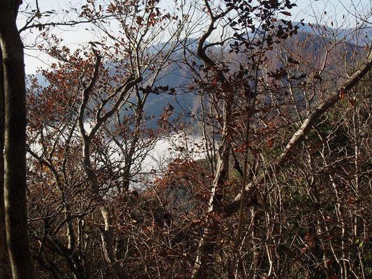 精進湖は朝霧に隠れている