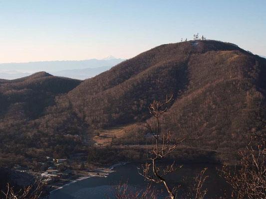 地蔵岳左側に富士山