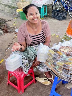 Woman Selling Snacks - Bago - Myanmar