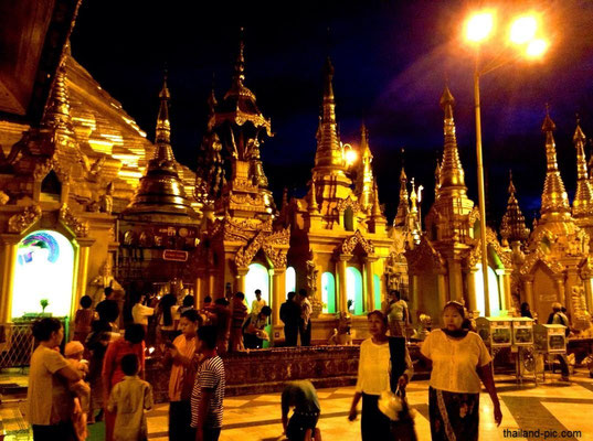 Swedagon Pagoda At Night - Yangon - Myanmar