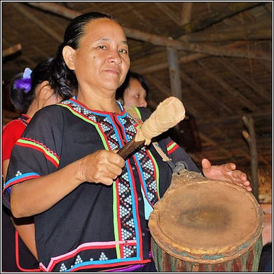Lahu Woman On Drums - Hill Tribe Village