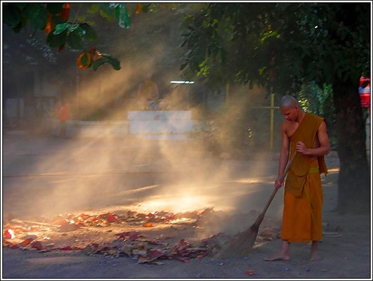 A Monk Doing His Morning Work