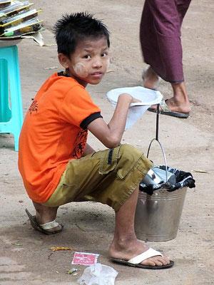 Boy Selling Drinks - Bago - Myanmar