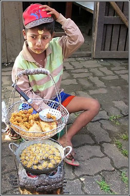 Burmese Boy Selling Food At The Three Pagodas Pass - Sangkhla-Buri District