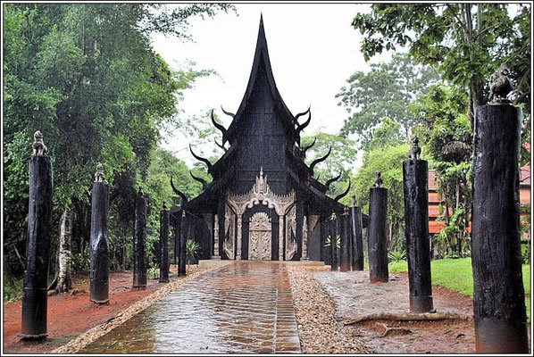 Black Temple In The Rain