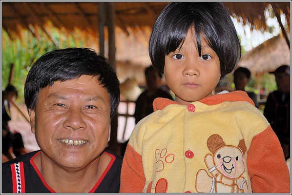Lahu Dad And His Shy Daughter - Hill Tribe Village