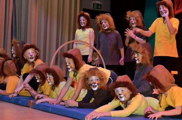 Die Darbietung ging ohne Zwischenfälle über die Bühne – die Löwen hatten vorher bereits gefressen.