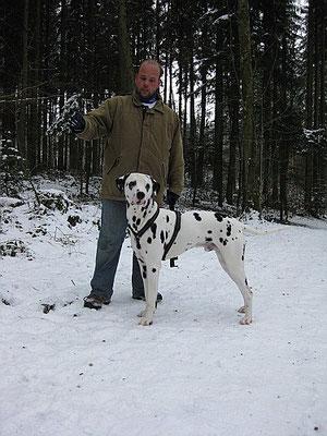 Carlsson mit seinem Herrchen