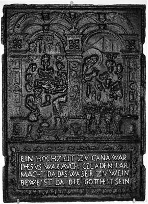 Inv.-Nr. 218   Hochzeit zu Kana, Ofenplatte 52 x 72 cm, Saarland, 1. H. 18. Jh