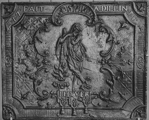 Inv.-Nr. 249   Allegorie des Winters, Kaminplatte 69 x 55 cm, Dillingen, dat. 1738